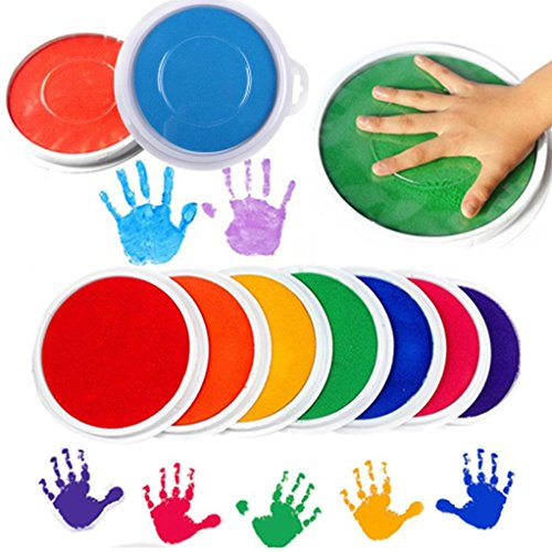 Gbell Colors DIY Ink Pad Stamp,Finger Painting Craft Cardmaking Large Round for Kids Children, Assorted 8 Colors (Multicolor)
