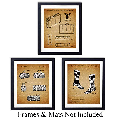 Louis Vuitton Patent Wall Art Prints - Set of Three (8x10) Unframed Photos - Makes a Great Gift for Fashion Lovers and Home - Louis Photograph