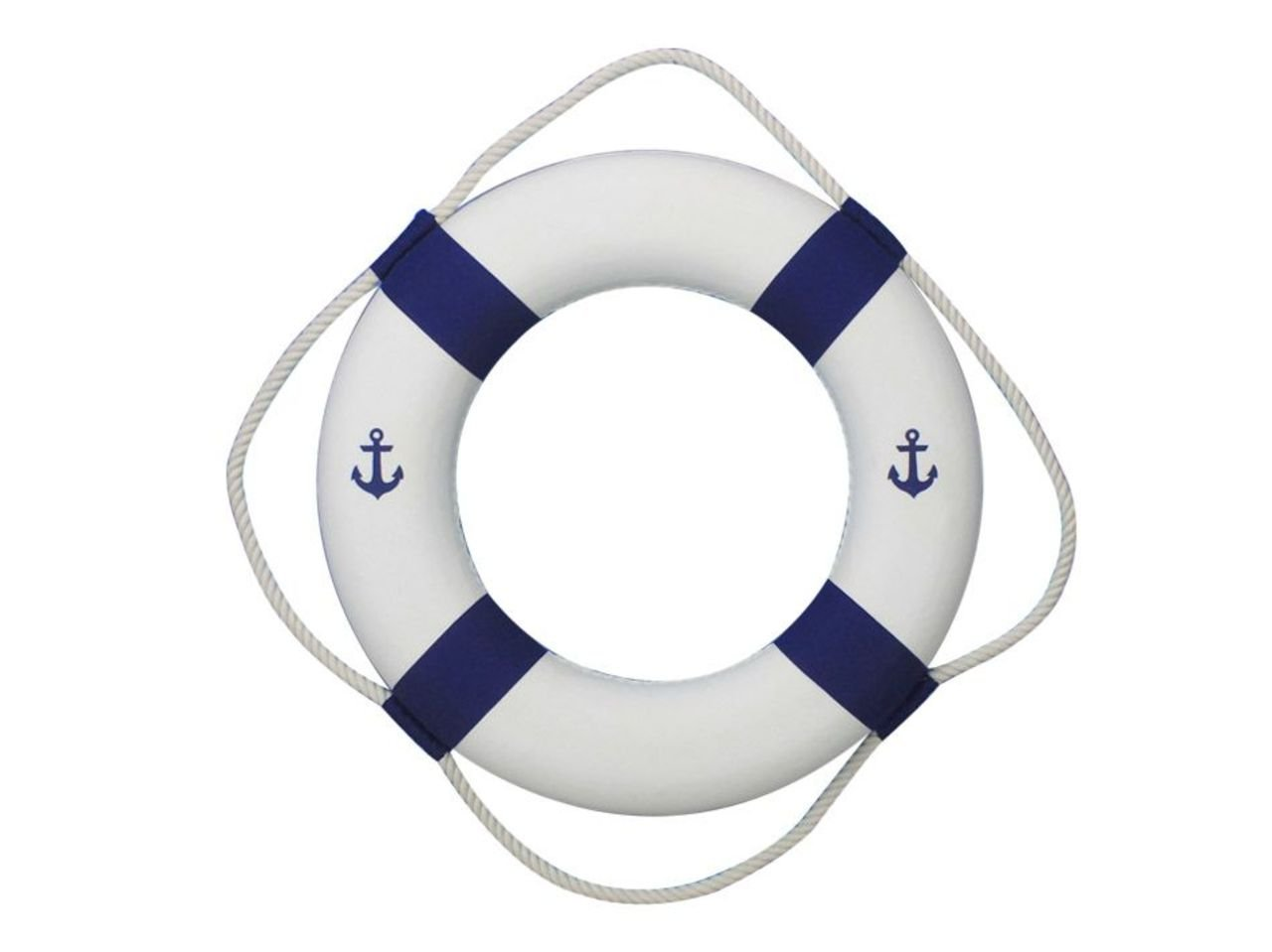 Hampton Nautical Classic White Decorative Anchor Life Ring with Bands Beach Decorating Ideas Accessories, 6