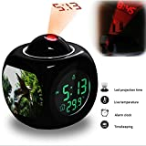 Projection Alarm Clock Wake Up Bedroom with Data and Temperature Display Talking Function, LED Wall / Ceiling Projection, Dinosaur-073.169_Dinosaur Land Pterodactyl Eating