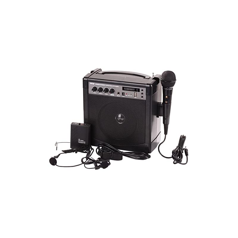 Pyle Pro Portable Outdoor PA Speaker Amplifier and Microphone System with Bluetooth Wireless Streaming, Rechargeable Battery, Belt Pack Transmitter, Headset, Lavalier, Wired Handheld Mic - PWMA220BM