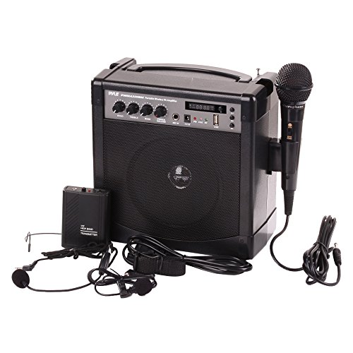Pyle-Pro Portable Outdoor PA Speaker Amplifier and Microphone System with Bluetooth Wireless Streaming, Rechargeable Battery, Belt Pack Transmitter, Headset, Lavalier, Wired Handheld Mic - PWMA220BM (Speaker Microphone Portable)