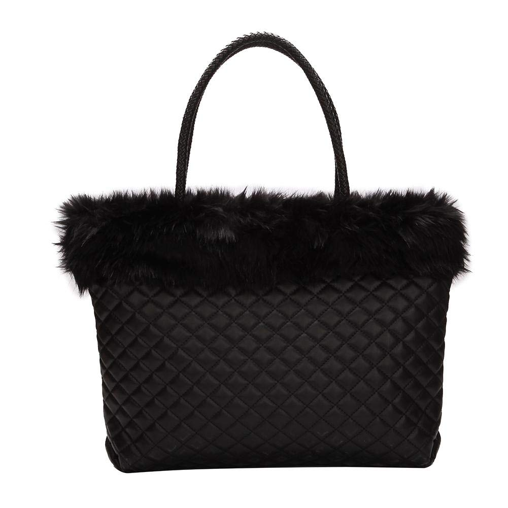 9eb5f4772c79 Amazon.com  AFfeco Elegant Faux Fur Plaid Leather Shoulder Handbags Women  Large Capacity Totes (1)  Clothing