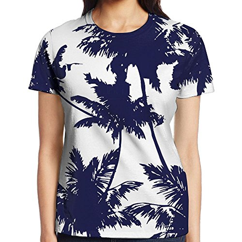 NavyLife Women's Mazarine Palm Trees Casual Crew Neck Baseball Tee Short Sleeves Tee Shirt Slim Fit Sports Uniforms