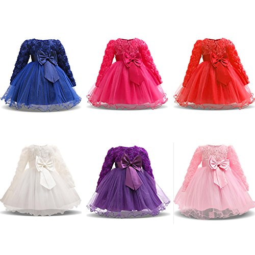 Tutu Size Princess Pink Long Sleeves Mornyray Baby Purple Dresses Rose Costumes Girl's 70 Bowknot E0WWRqnv