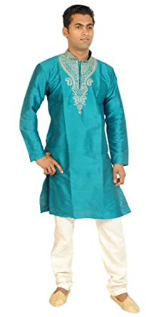 ee143f1604 Amazon.com: Apparelsonline Teal Men Kurta Set Sherwani Indian Wedding Wear:  Clothing