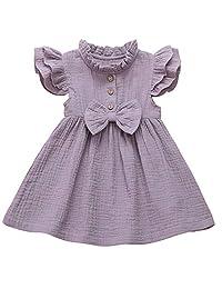 Tianhaik 1-5T Toddler Baby Girl Ruffle Dress Princess Long Sleeve Cotton Linen Skirt Outfit