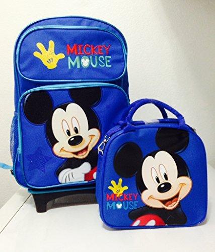 [해외]Disney Mickey Mouse Rolling Backpack with Detachable Wheeled Trolley- 16 Large Blue & Disney Mickey Mouse Lunch Box Bag with Shoulder Strap and Water Bottle - BLUE / Disney Mickey Mouse Rolling Backpack with Detachable Wheeled Trol...