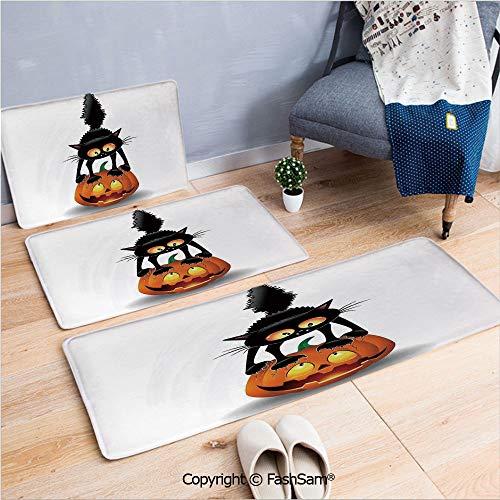 FashSam 3 Piece Flannel Doormat Black Cat on Pumpkin Spooky Cartoon Characters Halloween Humor Art for Kitchen Rugs Carpet(W15.7xL23.6 by W19.6xL31.5 by W15.7xL39.4) -
