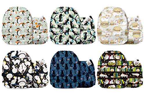 Mama Koala One Size Baby Washable Reusable Pocket Cloth Diapers, 6 Pack with 6 One Size Microfiber Inserts (Pawsitive Cattitude)