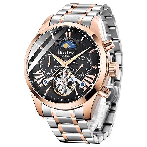 Bestn Mens Luxury Automatic Mechanical Wrist Watches Stainless Steel Moon Phrase Luminous Hands Skeleton Self-Wind Watch