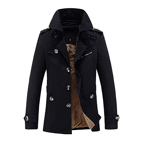 Button Thermal Leather Top Coat Pocket Mens Autumn Winter Casual Solid Hooded Jacket