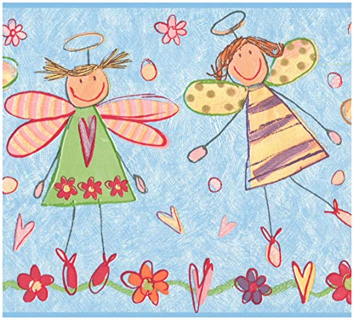 Prepasted Wallpaper Border - Drawn Winged Angels Kids Wall Border Retro Design, Roll 15 ft. x 10 in.