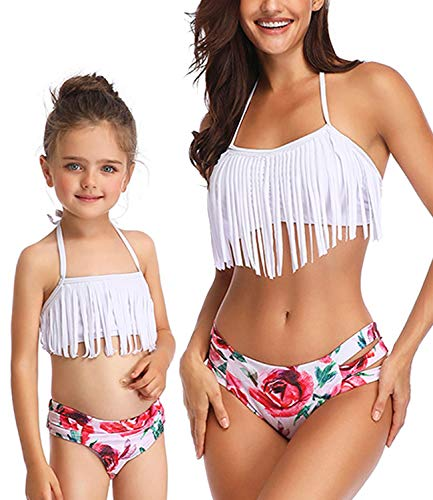 - Family Girls Swimsuits for High Waisted Two Piece Mommy and Daughter Swimwear Bikini Sets Ruffle Set Bathing Suit (Mom: US (8-10) Tag M, C- White Swan)