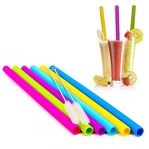 Price comparison product image Silicone Straws for 30 oz Yeti / Rtic Tumblers,  Reusable Wide Extra Long Flexible Straight Smoothies Drinking Straws with Cleaning Brushes Bundle 6 Pack
