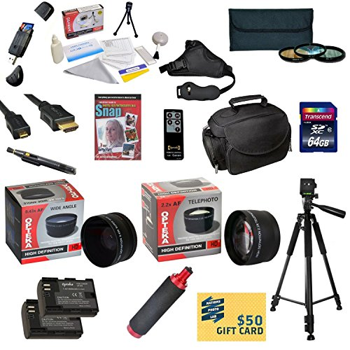 47th Street Photo Ultimate Accessory Kit for the Canon 6D, 60D, 60Da, 70D & 5D Mark III - Kit Includes: 64GB High-Speed SDXC Card + Card Reader + 2 Extended Life Batteries + Travel Charger + 58MM 0.43x HD2 Wide Angle Macro Fisheye Lens + 58MM 2.2x HD2 AF  by 47th Street Photo