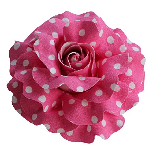 Sara Monica: Hair Flower Clip and Brooch Pin: Polka Dot Rose: Made in USA -