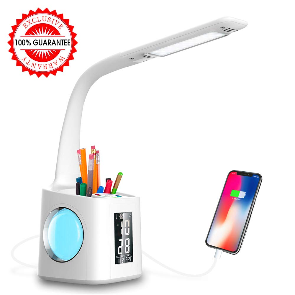 Wanjiaone Study LED Desk Lamp with USB Charging Port&Screen&Calendar&Color Night Light, Kids Dimmable LED Table Lamp with Pen Holder&Alarm Clock, Desk Reading Light for Students,10W by Wanjiaone