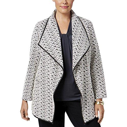 Textured Blazer Jacket (Calvin Klein Womens Plus Textured Draped Jacket B/W 14W)