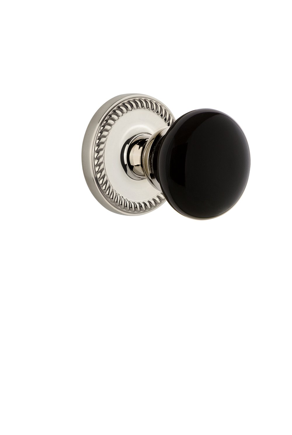 2.375 Polished Nickel Grandeur Hardware 853024 Newport Rosette with Coventry Knob Privacy Backset Size