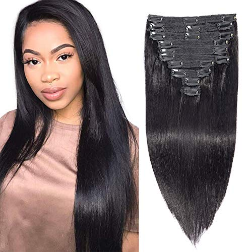 Brazilian Virgin Human Hair Grade 8A Straight Clip In Hair Extensions for Black Women 120g 10Pcs/set for Full Head Thick Double Weft 1B Natural Black Alina Hair(10) (Best Clip In Hair Extensions For Black Women)