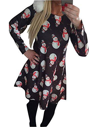 No Manches L Swing Robes De Print Mesdames De Sapin Longues FTe Dress Noir3 Femmes wfXCxqn8IA