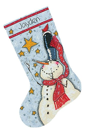 Dimensions Crafts 70-08924 Needlecrafts Counted Cross Stitch Stocking Kit, Tall Hat Snowman ()