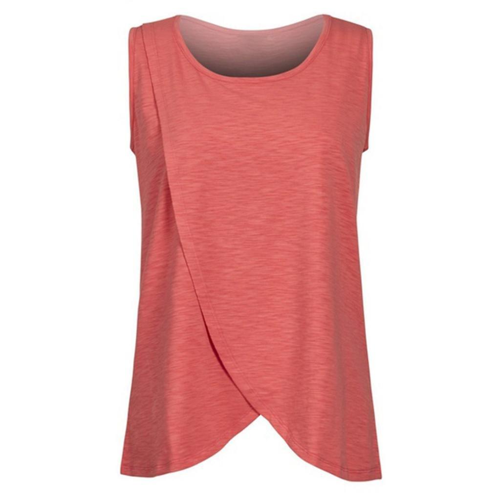 Cinnamou Premamá Lactancia Blusa de Sin Mangas, Camiseta de Mujer Maternidad de Doble Capa Breastfeeding Shirt Tops de enfermería para mujeres embarazadas
