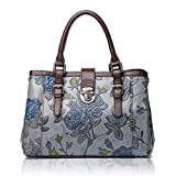 APHISON Designer Unique Embossed Floral Cowhide Leather Tote Style Ladies Top Handle Bags Handbags C817 Gray