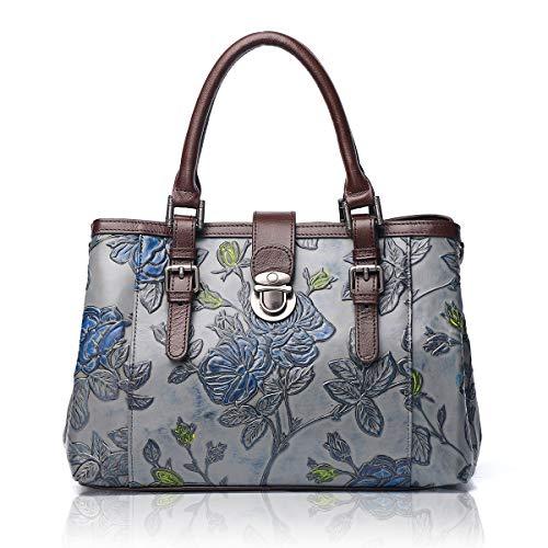 APHISON Designer Unique Embossed Floral Cowhide Leather Tote Style Ladies Top Handle Bags Handbags C817 Grey