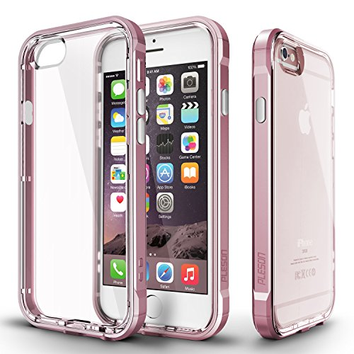 Price comparison product image iPhone 6s Case, PLESON [Crystal Bumper] iPhone 6s Case Cover, Dual Layer Case [FREE Screen Protector] [Drop Protection] PC Bumper Scratch Resistant Crystal Clear Back Case for Apple iPhone 6 / 6s