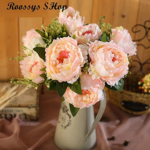 Roossys 牡丹の花 シルク造花 ウェディング装飾 人工シルクローズの花 ウェディングデコレーション用 人工牡丹の花ブーケ ブライダル フラワーローズ ウェディングパーティー装飾 ベージュ B07GH5TQ57 シャンパン