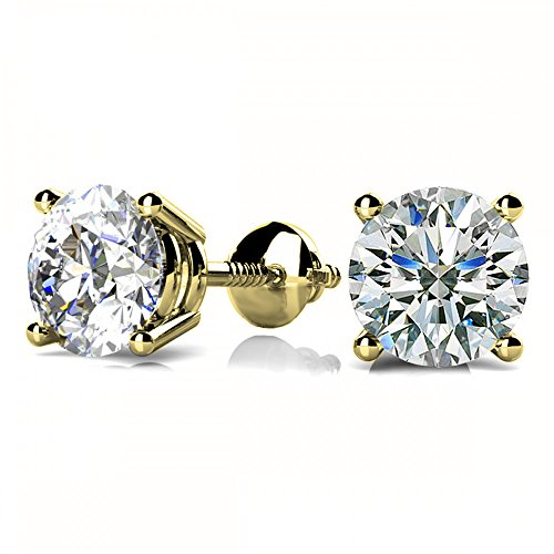 (NYC Sterling Unisex Round Cubic Zirconia Gold Plated Screw Back Stud Earring 3 to 8MM)