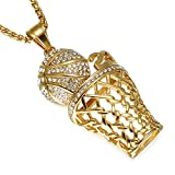 Basket Ball Pendant Hip-Hop Gold Stainless Steel Sports Necklace (Gold)