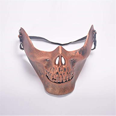 Burnished Silver Half Face Skull Jaw Mask Halloween Skeleton Protection Horror