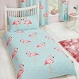 FiFi Flamingo Single Duvet Cover and Pillowcase Set Polycotton Kids Bedding Set