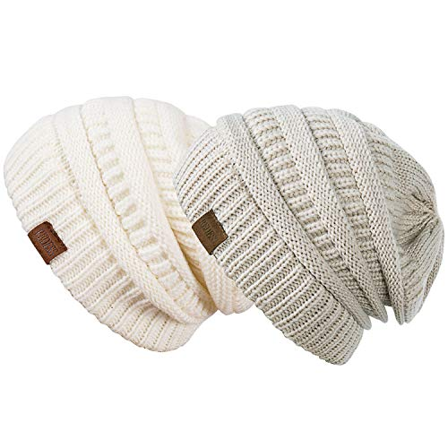 REDESS Slouchy Beanie Hat for Men and Women 2 Pack Winter Warm Chunky Soft Oversized Cable Knit Cap (Two Packs White & Oatmeal)
