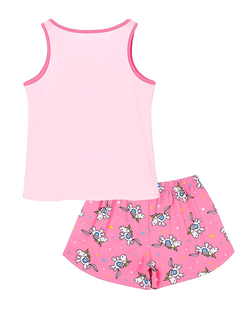 100/% Cotton Unicorn Sleeveless Shirt /& Shorts Tween Pajama Set Size 6-16 Girls Tank Tops PJS
