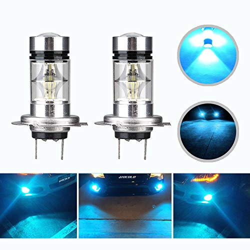HOCOLO H7 100W Samsung Chip LED Fog Light Lamp Bulbs for DRL Fog Driving Lights 8000K Ice Blue High Power LED Bulbs Car Vehicle Lighting Accessories (Set of 2) (H7 -Ice Blue 100W -Fog)