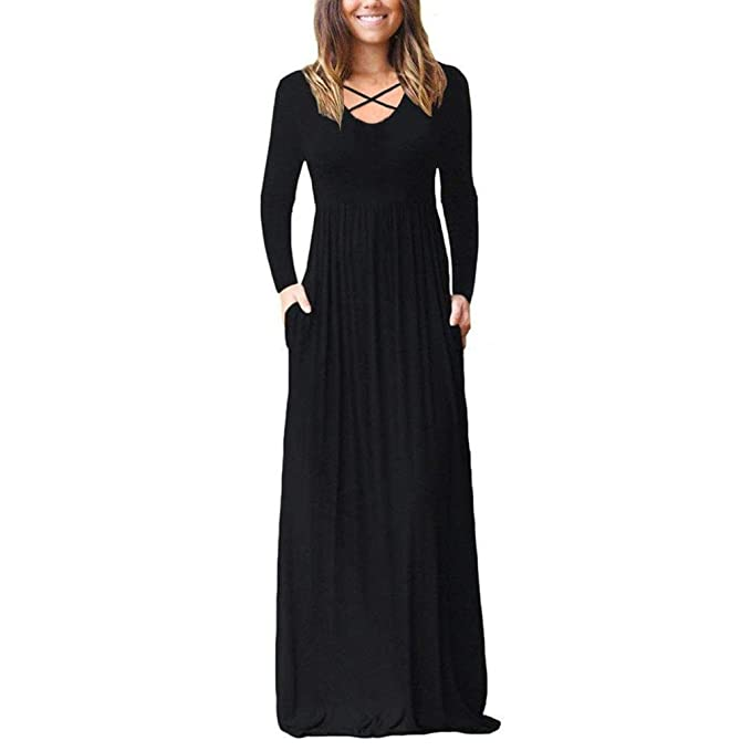 POLP Vestidos Sueltos Mujer,Vestido con Bolsillo,Vestido Manga Larga Mujer,Falda Larga