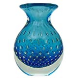 NOVICA Decorative Hand Blown Glass Vase, Blue, 'Ocean Inspiration'
