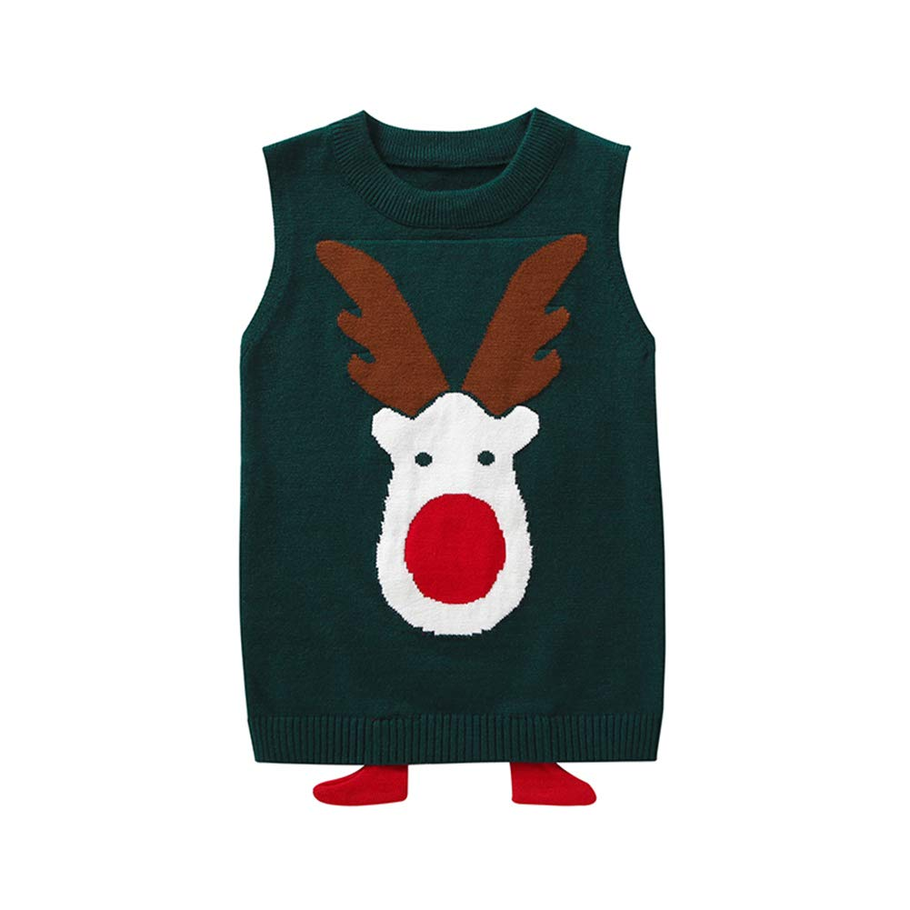 BOBORA Baby Girls Boys Winter Warm Knitted Vest Top Shirt Deer Waistcoat with 3D Feet Decorations for 2-9Years BO-UK1025