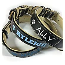 "Sier Personalized Glitter Bling Black Padded Leather Dog and Cat Collar With Name Phone Number ID (Large (17""-21""))"