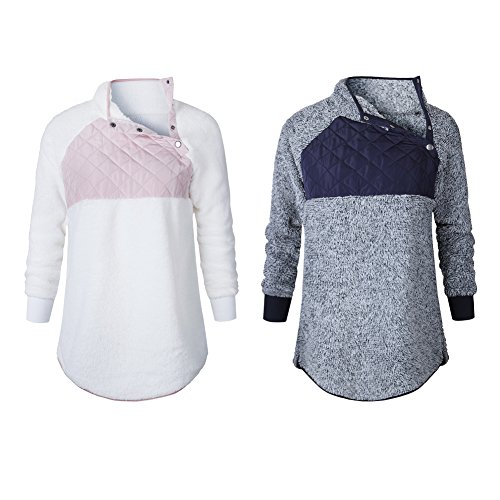 Romacci Womens Warm Long Sleeves Fleece Tops Stand Collar Oblique Buttons Casual Splice Pullover Outwear Coat