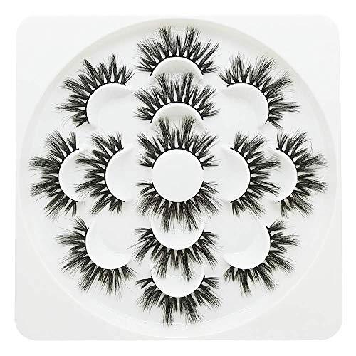 3D Wispies False Eyelashes Extensions Faux Mink Dramatic Volume Lashes Strip Handmade Soft Eyelash for Makeup Girls&Women,7Pairs Rose Flower Lash
