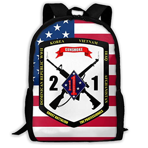 2nd Battalion, 1st Marines 3D Printing Adult Daily Bag Leisure Hiking Bag Unisex Backpack