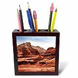 3dRose DanielaPhotography - Landscape, Nature - Unusually Shaped Rocks and Massive Sandstone Cliffs -Kodachrome Park - 5 inch Tile Pen Holder (ph_282028_1)