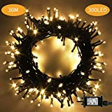 ChuYa105ft 300 LED Christmas String Lights, End-to-End Plug 8 Modes Christmas Lights -CE Certified - Outdoor Indoor Fairy Lights Christmas Tree, Patio, Garden, Party, Wedding, Holiday, Warm White