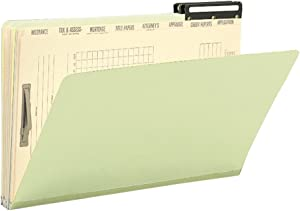 Smead Pressboard Mortgage Folder and Indexed Divider Set, Flat Metal 2/5-Cut Right Position Tab, Guide Height, Legal Size, Gray/Green, 10 per Box (78208)