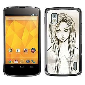 Shell-Star Arte & diseño plástico duro Fundas Cover Cubre Hard Case Cover para LG Google NEXUS 4 / Mako / E960 ( Girl Portrait Green Eyes Pencil Drawing )
